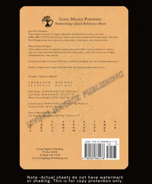 Numerology Quick Reference Sheet